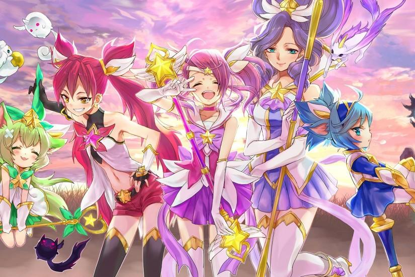 Download wallpaper Star Guardian Anime Cute Girls Lux, Jinx, Janna, Lulu  and Poppy