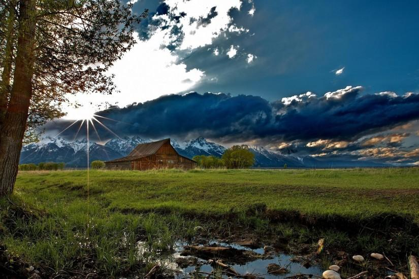 house mountains landscape buildings barn rustic #1