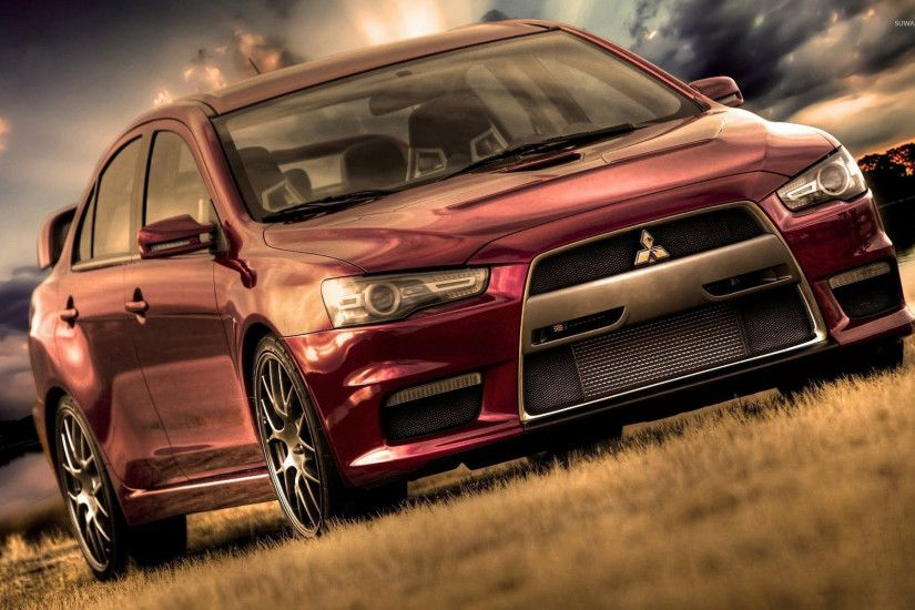 Red Mitsubishi Lancer Evolution wallpaper