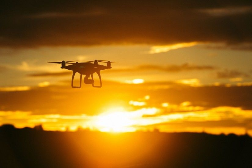 Preview wallpaper quadrocopter, sunset, sky, flight, drone 1920x1080