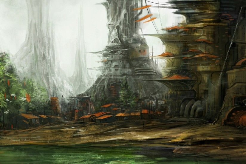 artwork, City, Fantasy Art, Space, Urban, Spaceship, Concept Art, Swamp  Wallpapers HD / Desktop and Mobile Backgrounds
