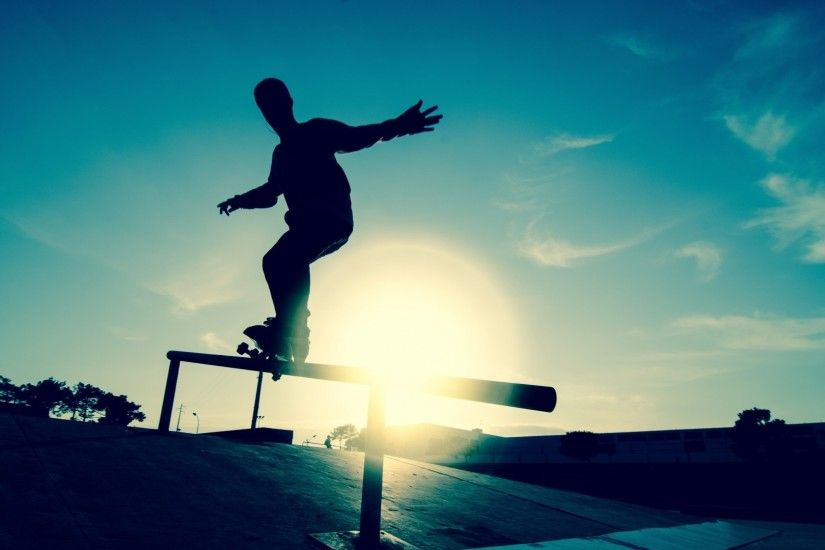 Preview wallpaper skate, board, athlete, railings, motion, silhouette, ice  rink