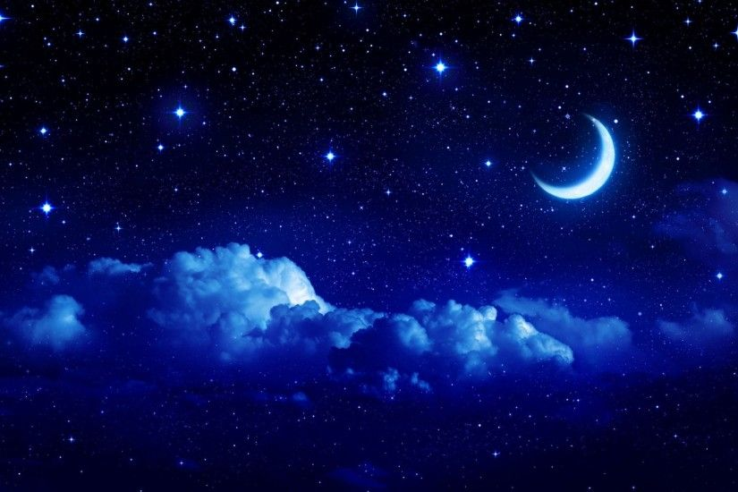 landscape star sky moon year crescent cloud clouds night tale background sky  stars wallpaper widescreen full