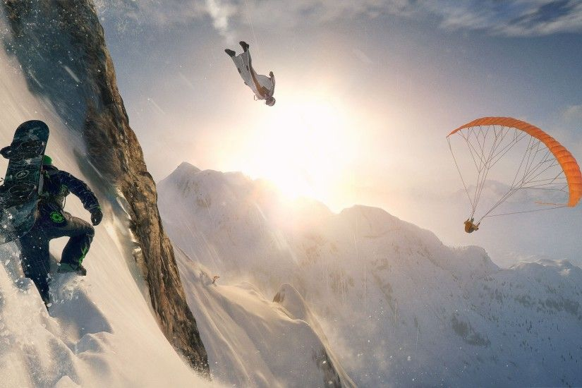 General 3840x2160 video games Steep mountains snow Sun parachutes skydiver  skydiving snowboards clouds wingsuit men Ubisoft