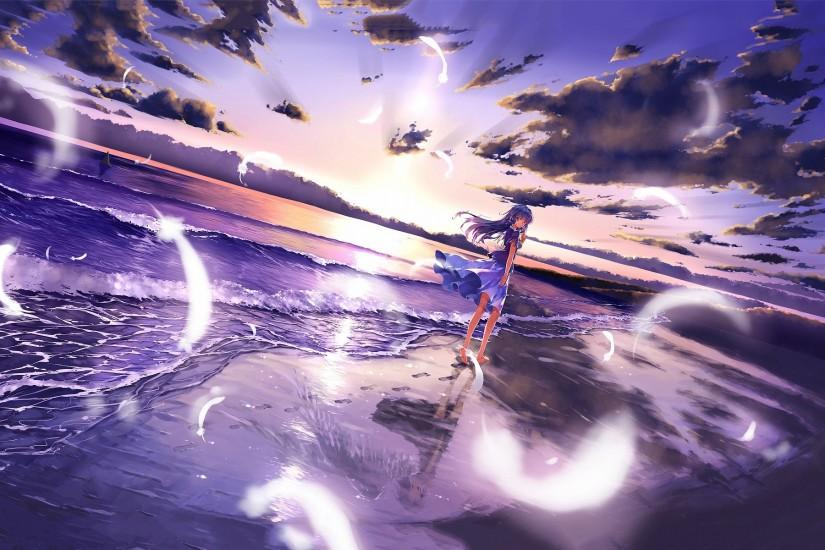 Anime girl on beach wallpaper images hd wallpapers.
