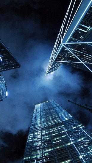 Modern Skyscrapers City Night iPhone 6+ HD Wallpaper