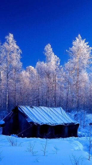 Snow Forest Tent Winter Nature Android Wallpaper ...