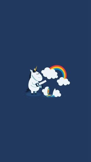 Unicorn Saw Clouds Rainbow Funny #iPhone #6 #plus #wallpaper