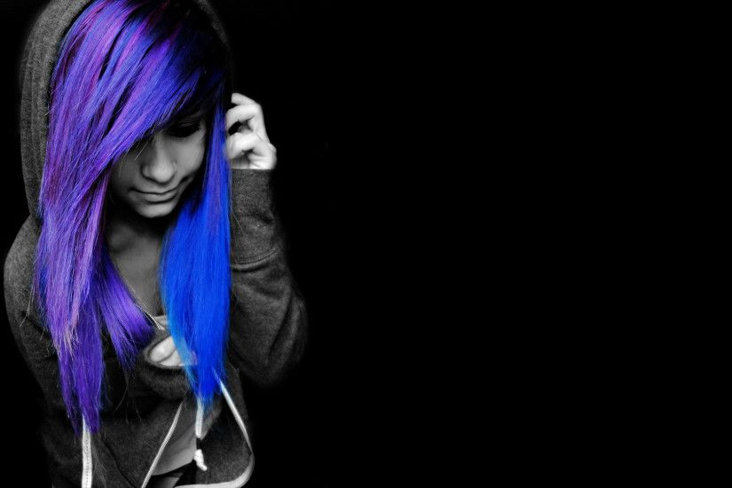 black, Selective Coloring, Emo, Blue Hair, Purple Hair, Black Background  Wallpaper