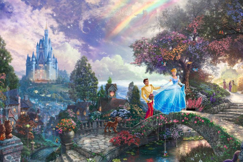 1920x1080 Thomas Kinkade Wallpaper, painting, Cinderella, prince, Disney,  castle .