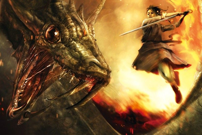 3D Dragon And Warrior Girl Wallpaper | HD 3D and Abstract Wallpaper Free  Download ...