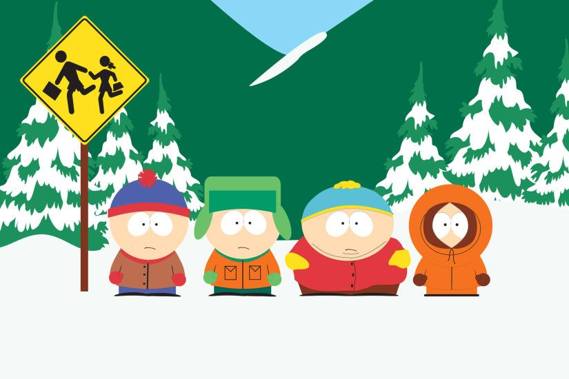 south park stan kyle cartman and kenny at bus stop uhd 4k wallpaper. Â«