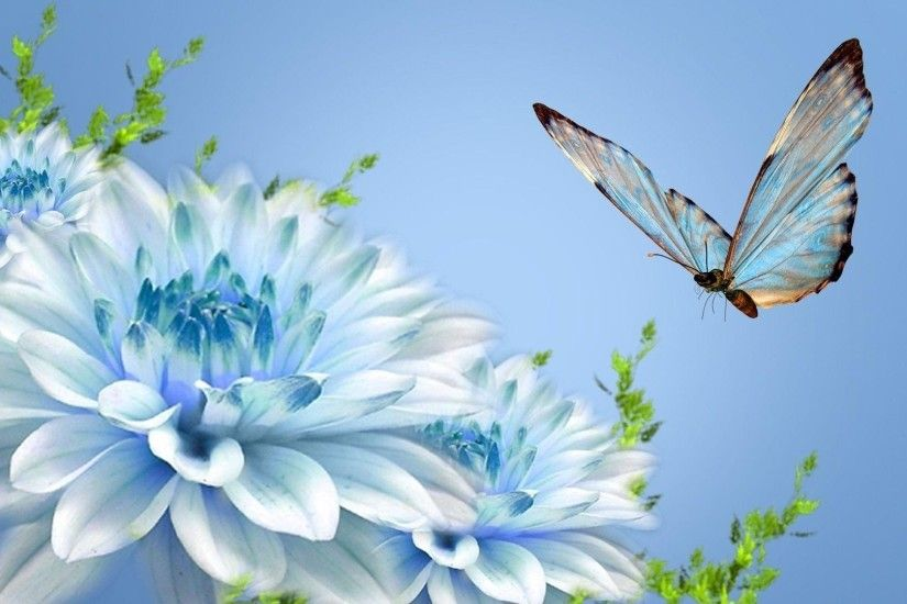 Wallpapers For > Cute Flower And Butterfly Background