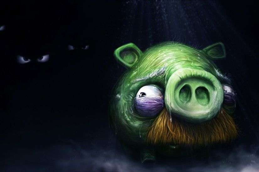 green video games old cartoonish darkness moustache artwork Angry Birds pig  game scared - Wallpaper (