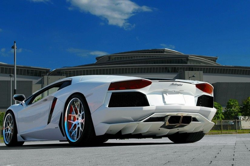 Preview wallpaper lamborghini, aventador, lp700-4, white, paving tiles, sky