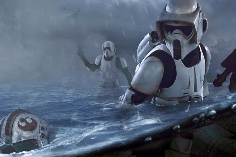 Scout Troopers in the Water - Rogue One: A Star Wars Story 1920x1080  wallpaper