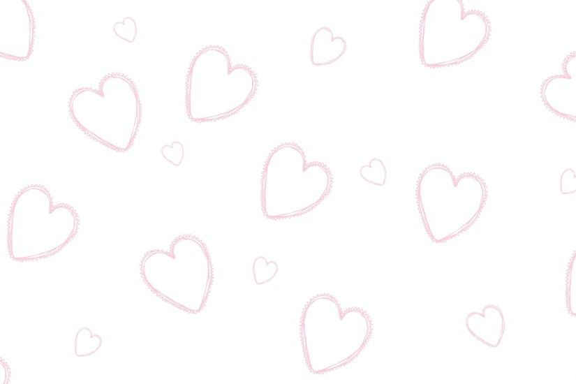 White Wallpaper With Pink Hearts
