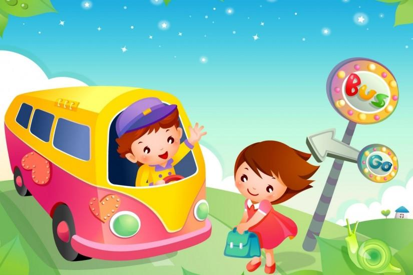 Kids School Bus Cartoon High Resolution Wallpapers Free Download .