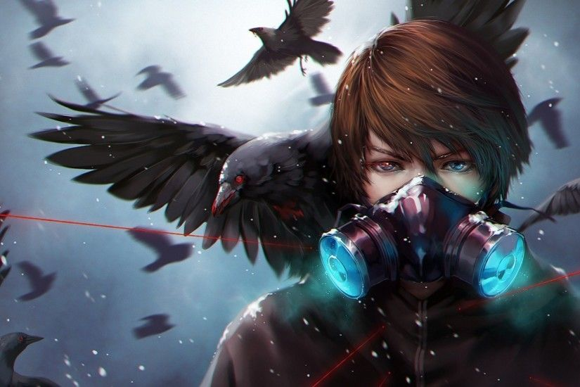 Preview wallpaper anime, crow, mask 1920x1080