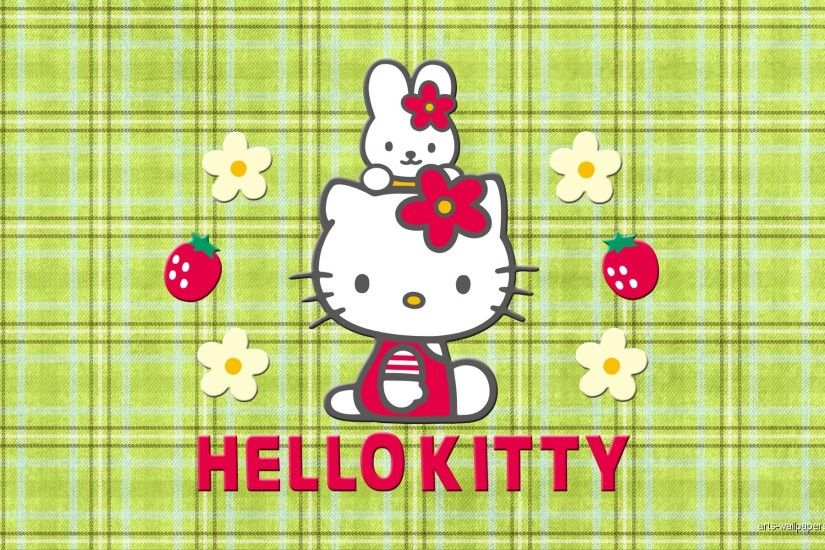 Add your Hello Kitty wallpaper collection with this one, a Cute Hello Kitty  and My Melody with Strawberries, Flower and green Stripping Background.