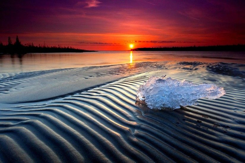 cool ice sunset beach wallpapers - full HD backgrounds