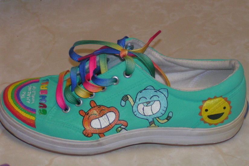the amazing world of gumball painted shoes