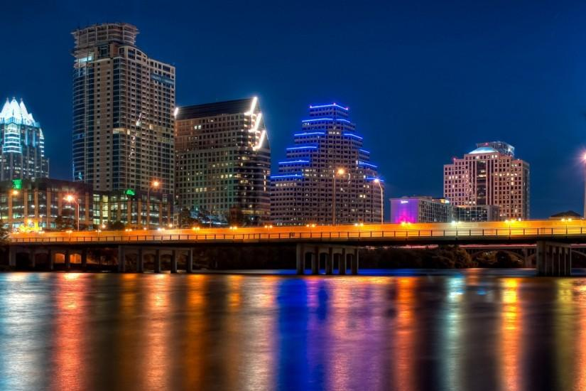 Preview wallpaper austin, texas, night, bridge, reflection, color  transfusion 1920x1080