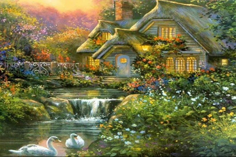 Free Cute Thomas Kinkade iPad Wallpaper