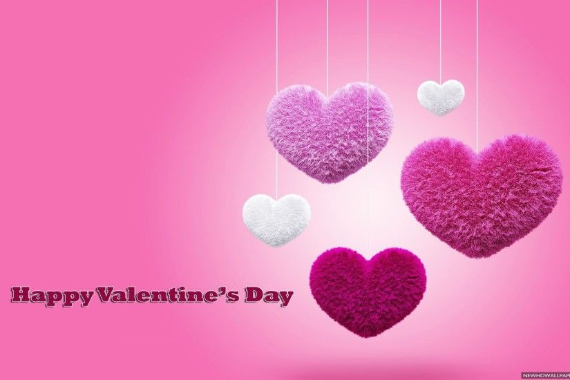 3D Love Pink Hearts Valentines Background
