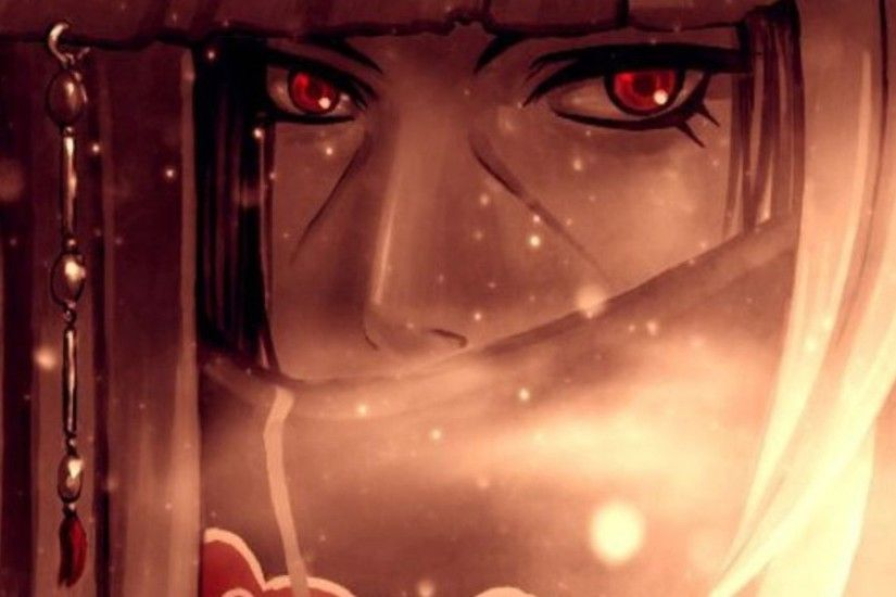 3840x1200 Wallpaper anime, naruto, uchiha itachi, sharingan, akatsuki, look