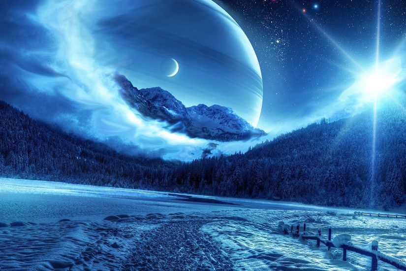 Preview wallpaper winter, night, mountains, road, planet, fantastic  landscape 1920x1080
