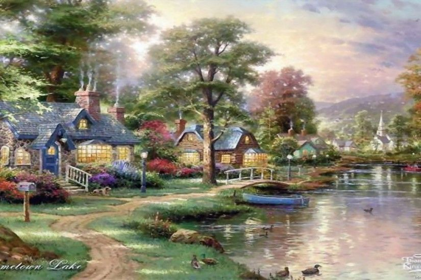 Thomas Kinkade Wallpaper, Paintings, Art, HD, Desktop, Thomas Kinkade 3