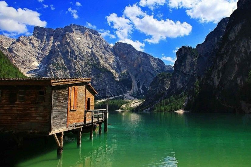 Mountains Blue Landscapes Nature Cabin Clouds Skies Water Lakes Desktop  Backgrounds Free
