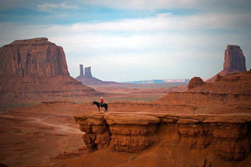 cowboy west hat people places nature landscapes canyon cliffs desert sky  clouds mood wallpaper