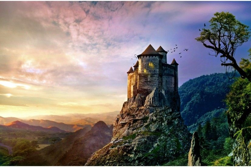 PRINCESS CASTLE MOUNTAIN FANTASY HD WALLPAPER