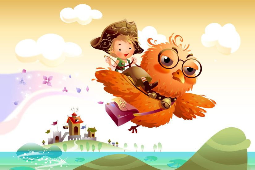 FairyTale Wallpaper, Student bird, Little boy