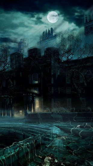 Haunted Castle Full Moon Night Android Wallpaper