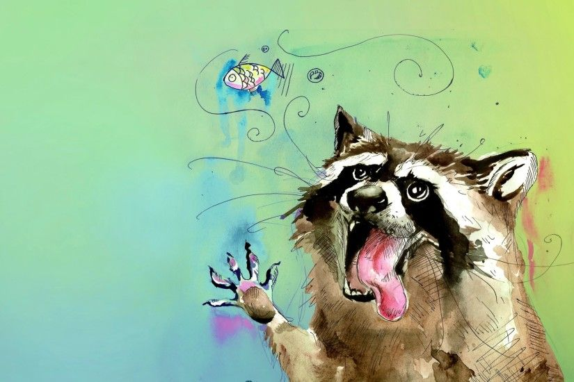 raccoon animals potaskun poloskun english flowers picture watercolor fish  bubble