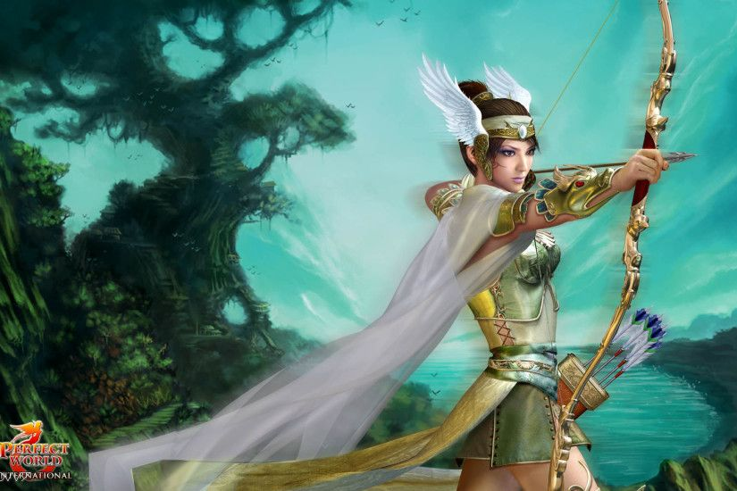 perfect world winged elf archer widescreen wallpaper