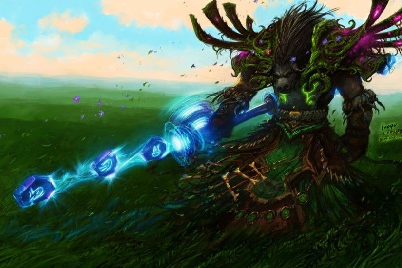 World of warcraft fields tauren fantasy art druid wallpaper | (58866)