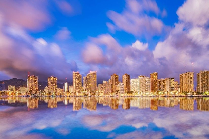 Hawaii, Cityscape, Waikiki Beach, Lights, Clouds, Modern Buildings