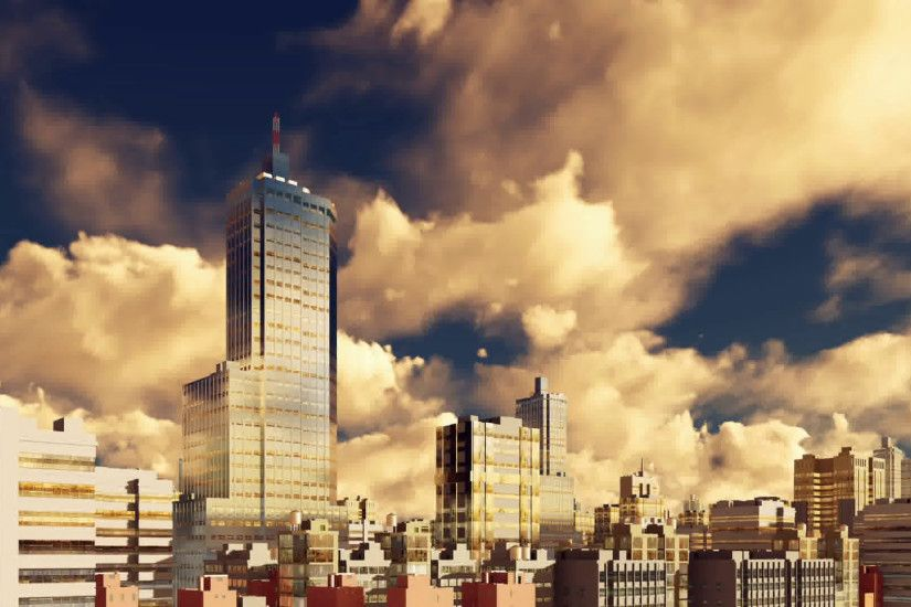 Modern high rise office buildings skyscrapers at abstract city downtown  against evening cloudy sky background. Realistic 3D animation rendered in  4K Motion ...