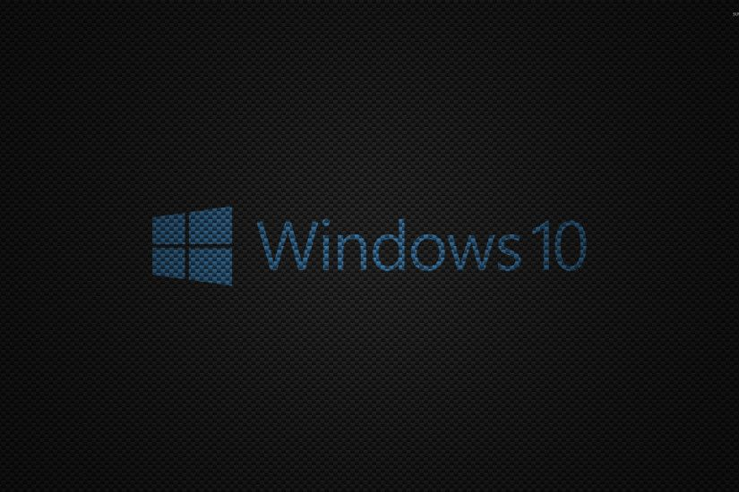 Windows 10 text logo on carbon fiber wallpaper