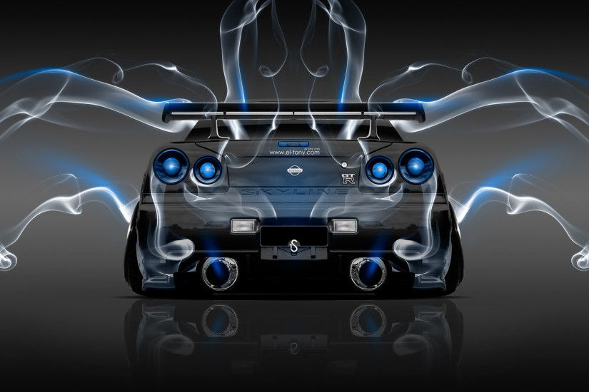 Nissan Skyline GTR R34 JDM Back Smoke Car 2014