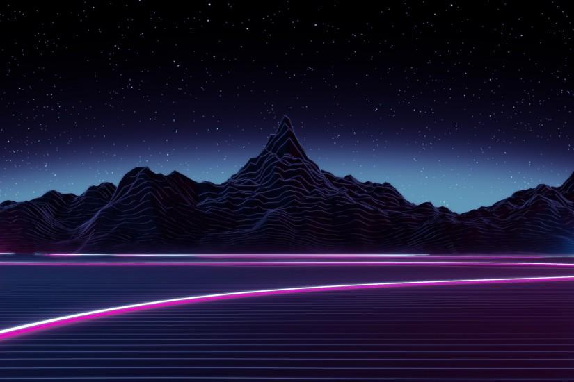 synthwave wallpaper 3440x1440 screen