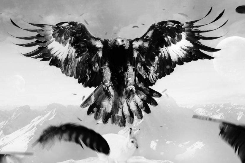 Preview wallpaper eagle, hare, art, bird, feathers, mountains 1920x1080
