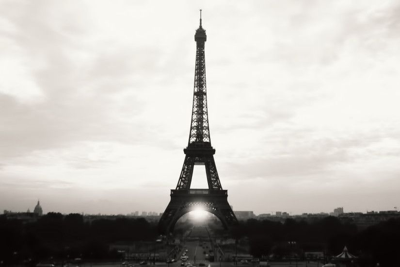 Eiffel Tower Paris Black and White Photography Desktop Wallpaper