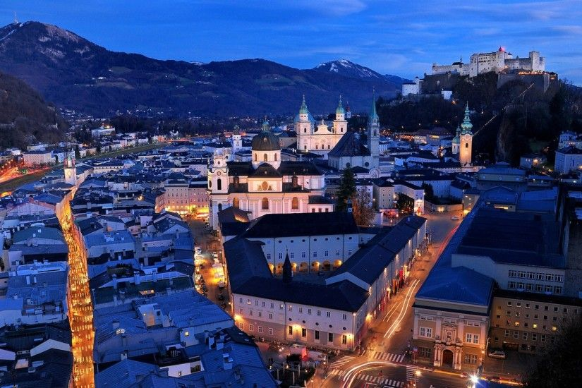 Download now full hd wallpaper salzburg aerial view night austria ...