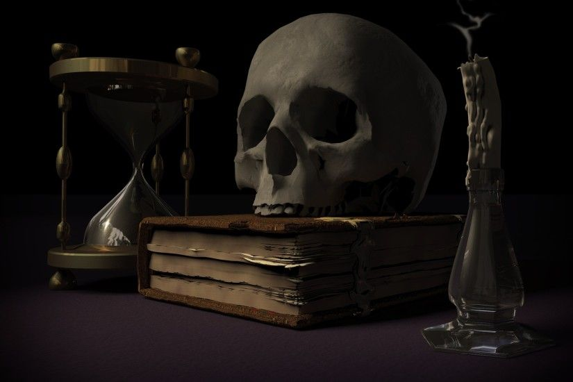 Dark - Skull Book Hourglass Wallpaper