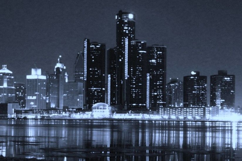 Detroit Skyline Wallpaper Black And White #13650 | Hdwidescreens.